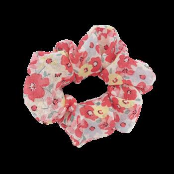 Scrunchie - Blomster pink gul